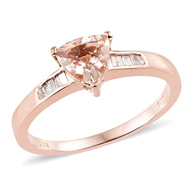 5f26a3239fc9b Amazon.com: 925 Sterling Silver Vermeil Rose Gold Plated Morganite ...