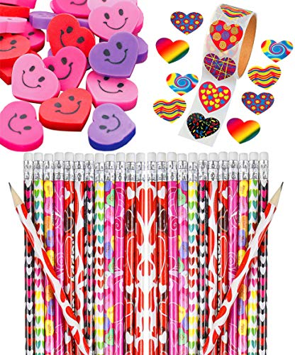 Valentine's Day Heart Party Favors Set Bulk, 36 Assorted Pencils, 36 Colorful Smiley Erasers, Valentine Funky Heart Roll of 100 Stickers, Fun Supplies and Prizes for Kids, By 4E's -