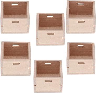 Amazon.es: perfeclan 6 Pack 1/12 Escala Casa De Muñecas Caja De Madera Contenedor Muebles Cocina Kits De Sala para Frutas Y Verduras 4x3.5x2.2cm: Juguetes y juegos