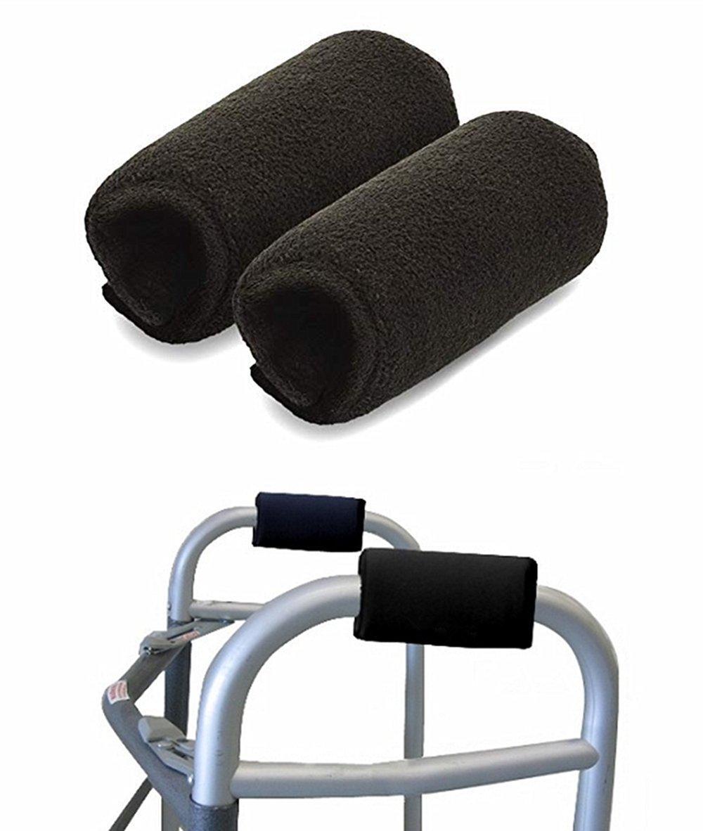 Universal Walker Padded Hand Grip Covers, Premium Medical Soft Cushion Memory Foam Core Padding, Moisture Wicking, Antibacterial, Comfort, Washable, Black