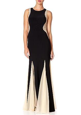 58065ae06c2 Forever Unique - BELLISSA - Black Maxi Dress with Godet Hem Panels 6   Amazon.co.uk  Clothing