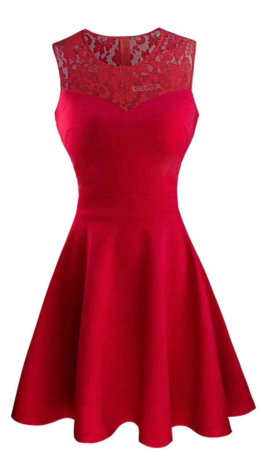 Sylvestidoso Women's A-Line Sleeveless Pleated Little Red Cocktail Party Dress with Floral Lace (XXL, Red)