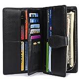 Women RFID Blocking Leather Wallet Trifold Large Organizer Clutch Zip Card Holder