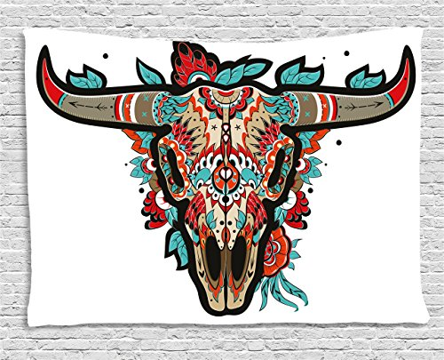 Ambesonne Western Tapestry by, Buffalo Sugar Mexican Skull Colorful Ornate Design Horned Animal Trophy, Wall Hanging for Bedroom Living Room Dorm, 60 W X 40 L Inches, Turquoise Red Taupe (Outdoor Western Furniture)