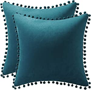 DEZENE Throw Pillow Cases 20x20 Teal: 2 Pack Cozy Soft Pom-poms Velvet Square Decorative Pillow Covers for Farmhouse Home Decor
