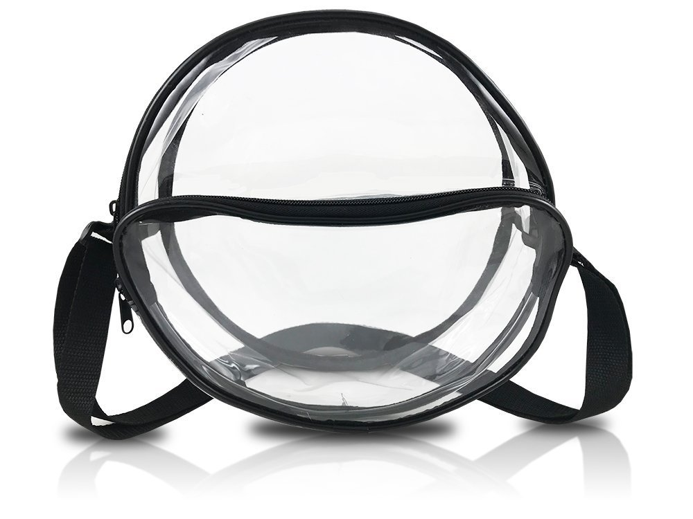 Nova Sport Wear 10 Inch Round Clear Messenger Bag For Events/Transparent Purse For Stadiums/Clear Bag For Men And Women … (Black)