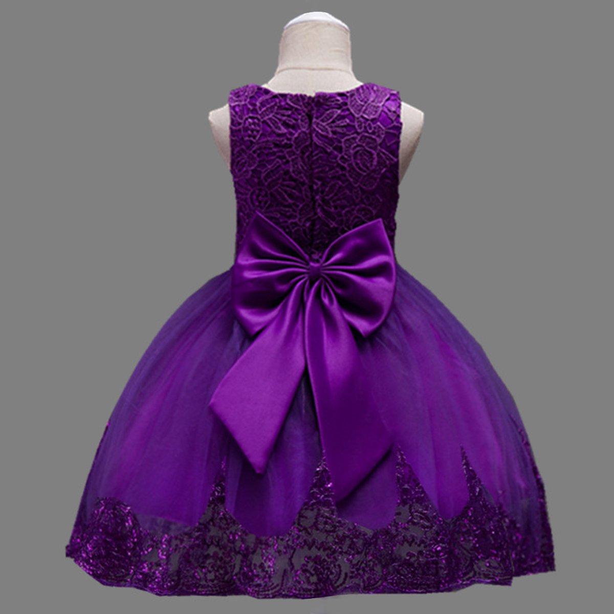 OBEEII Vestito da Principessa Fiore Ragazza Abito Pizzo Senza Maniche Floreale Gonna Tutu per Festa Cerimonia Carnevale Battesimo per Bambine 1-11 Anni