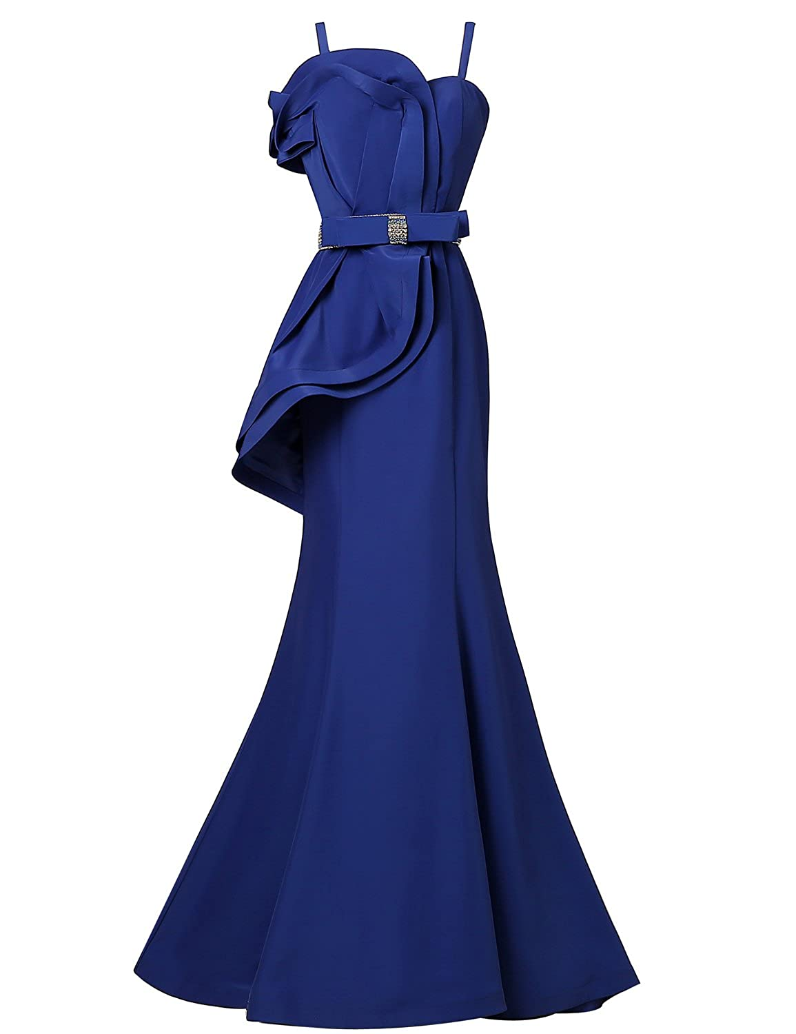 Sarahbridal Women's Long Sexy Evening Gowns Spaghetti Strap Mermaid Prom Dress Peplum Formal Party Dresses SHY009