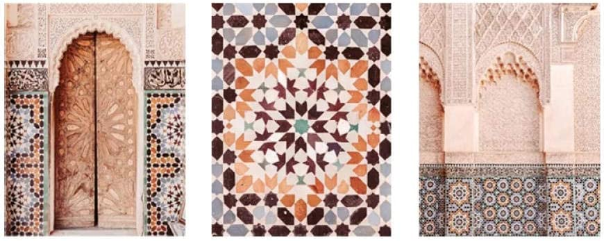 Moroccan Architecture Photography Posters and Prints Islamic Wall Art Muslim Canvas Painting Mosaic Wall Pictures Living Room Decor 50x70cmx3 No Frame