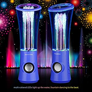 SoundSOUL Dancing Water Speakers LED Speakers Water Fountain Speakers Mini Music Amplifier(6 Colored LED Lights,Dual 3W Speakers,perfect Birthday/Thanksgiving /Christmas Gift for your family) - Blue