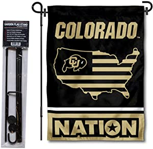 College Flags & Banners Co. Colorado Buffaloes Garden Flag with USA Country Stars and Stripes and USA Flag Stand Pole Holder Set