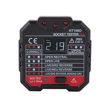 Probador de zócalo, probador de zócalo eléctrico HT106 Cable RCD/GFCI Probador de salida