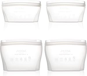 Zip Standing Reusable food Silicone Containers - Complete SET with 4 Dishes Larger Capacity, Dishwasher, Microwave, Freezer Safe. Healthy Food Grade.(white)