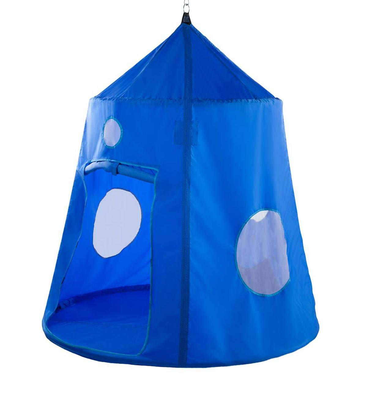 HearthSong® Nylon Family HugglePod Hangout Hanging Tree or Ceiling Play Tent - Indoor or Outdoor Use - Portable - 78 H x 60.5 Diam - Blue