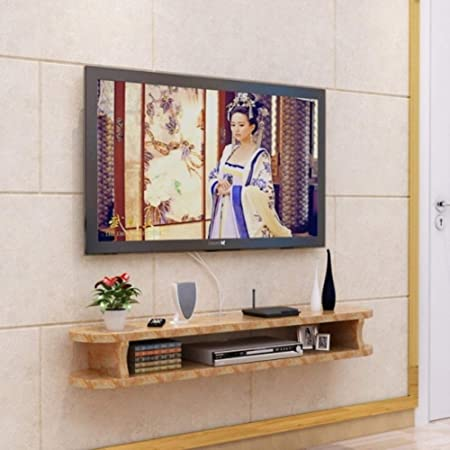 Pared Consola para TV,Madera Flotante TV Mueble para Cable Caja Set-Top Box Modern Almacenamiento para La Decoración De La Pared De Fondo A 120x22x15cm(47x9x6inch): Amazon.es: Hogar