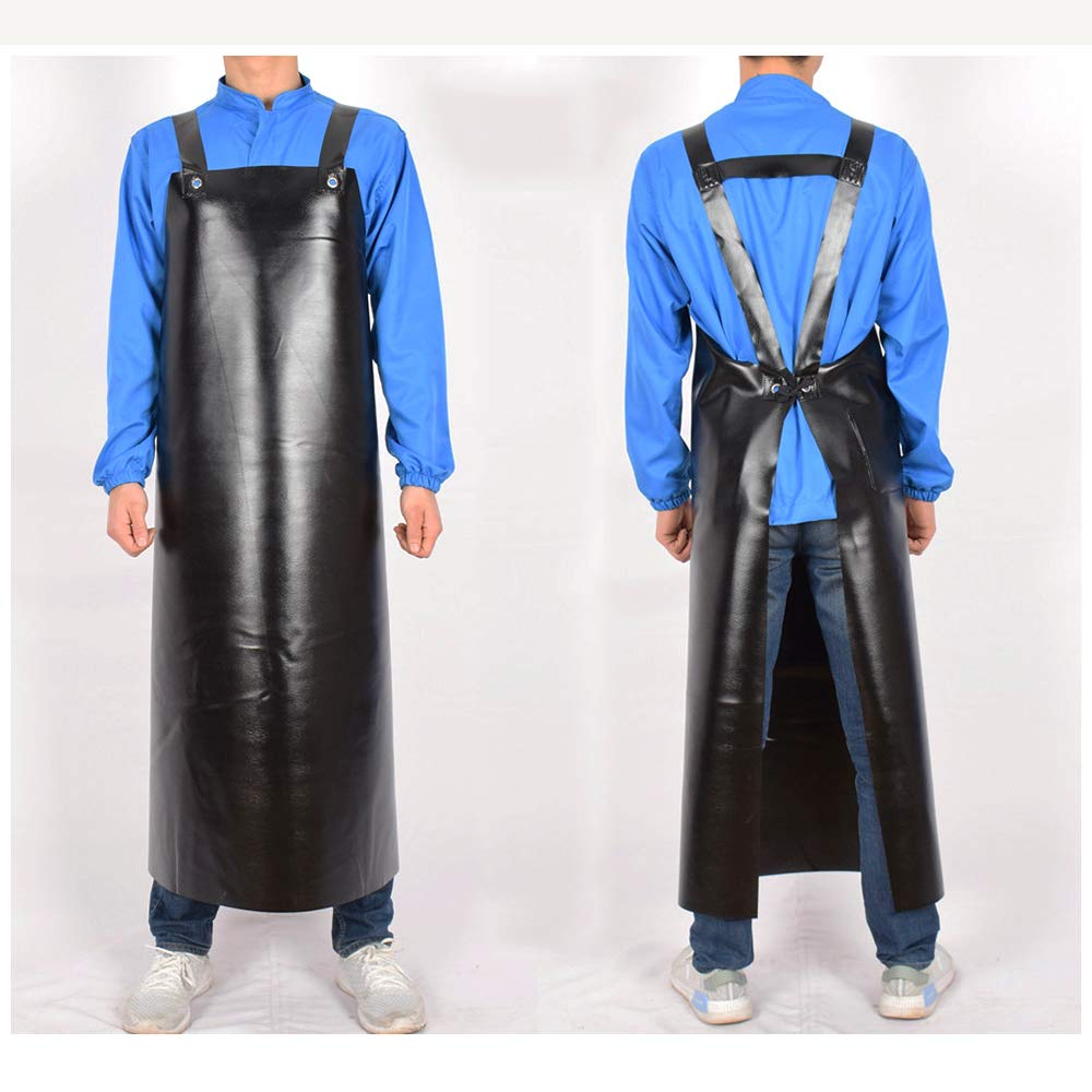LH Oxford Wear-resistant apron, acid and alkali durable waterproof anti-oil thickening increase lengthening waist overalls(BLACK),L