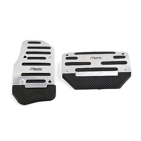 Sourcingmap 2Uds Pack Juego Almohadillas Pedal Embrague Freno para Coche Vehículo Metal Negro Antideslizante