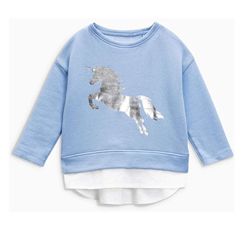 Melissa Wilde 2-7 Years Baby Girls Sweatshirts 100/% Cotton Kids Toddler Cartoon Horse Printing Pullovers