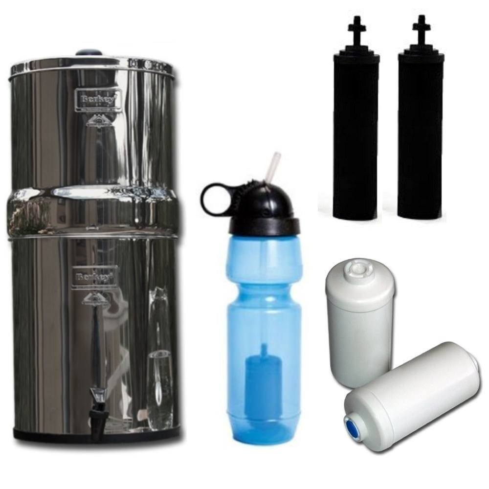 Travel Berkey Water Filter System, with Two Black Berkey Filters, Two Berkey Fluoride Filters AND One Berkey Sport Bottle (with filter)! Great for Travel or Camping needs!