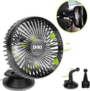 DIKI Car Fan, 5V DC Electric Car Cooling Fan Back Seat for Baby Pet Passenger, 3 Speeds Dashboard Cooling Air Fan Vehicle Clip Fan USB Powered Fan for Car Desk Home