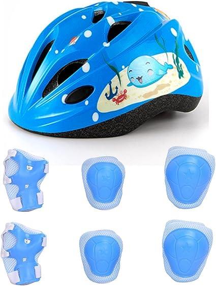 Lommer 7pcs Ajustable Casco Bici Niño Casco Ciclismo Bebe Clásico ...
