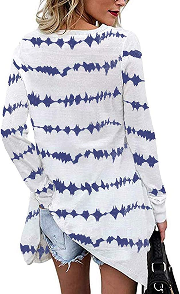Severkill Womens Casual Striped Tops Long Sleeve Tunic Shirt Loose Fit Oversized Shirts Tops