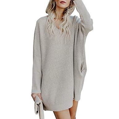 Damen Strickkleid Langarm Pullover Kleid,Sunday Mode Herbstkleid Pullikleid Lange  Oberteile Kleid Winterkleid Minikleid ( 71b3c6e7d9