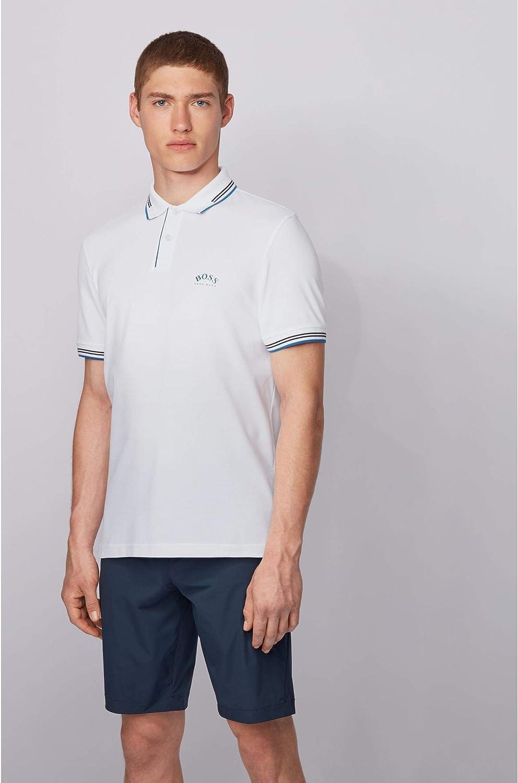 BOSS Herren Paul Curved Poloshirt aus Stretch-Piqu/é mit geschwungenem Logo