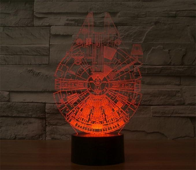 SmartEra® 3D de la ilusión óptica de la serie Star Wars, el Millennium Falcon Modelo, 7 cambiar el color botón táctil de escritorio del USB LED ...