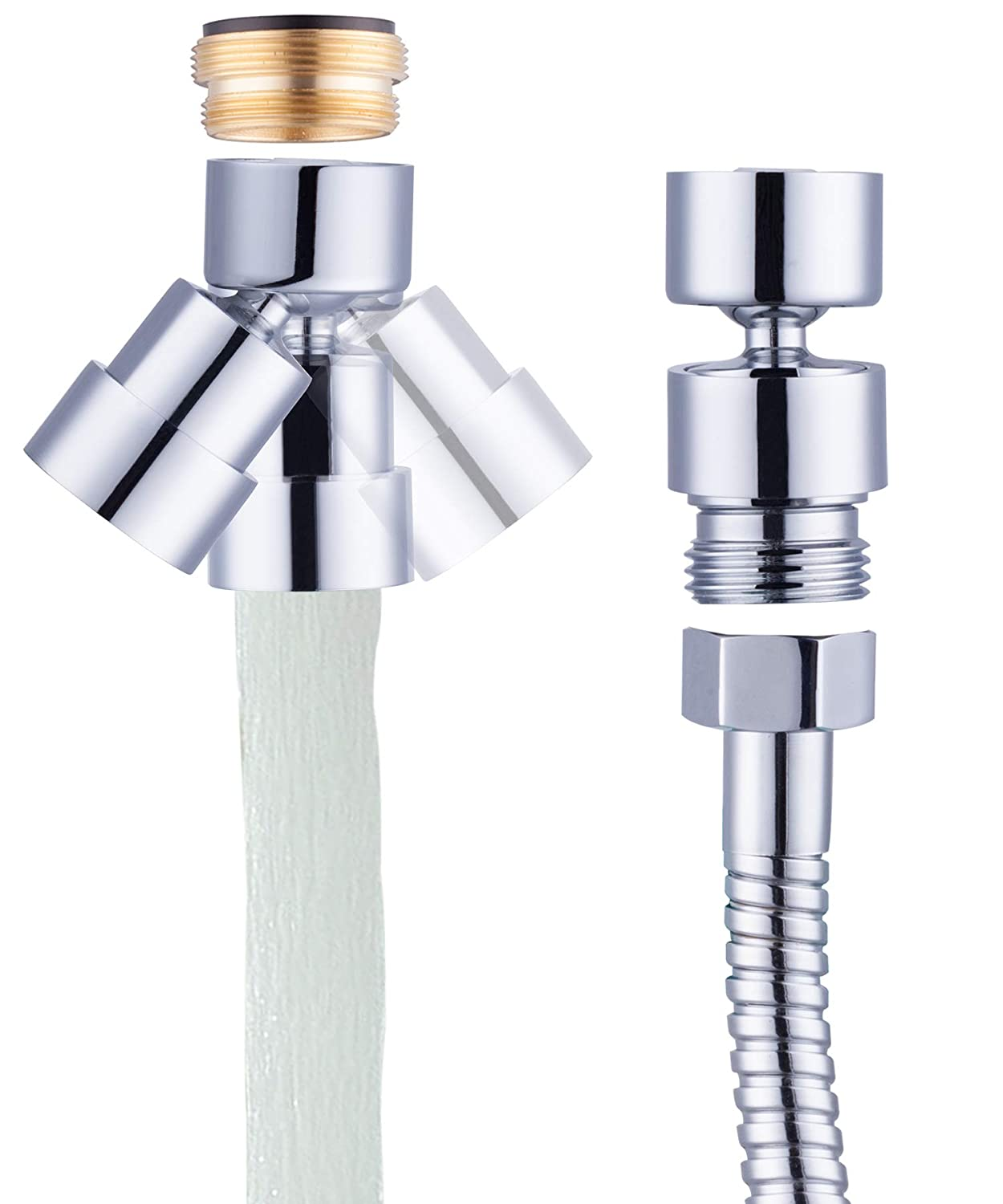 Waternymph 2 in 1 Faucet Aerator with Adapter Connect to Hose of Handhold Shower, Bidet and other G1/2 Thread Hose, Big Angle Swivel Aerator with Movable Lid to Cover the G 1/2 Thread -Polished Chrome