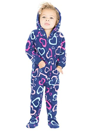 eb0b8474a Amazon.com: Footed Pajamas - - Hearts of Love Infant Hoodie Fleece ...