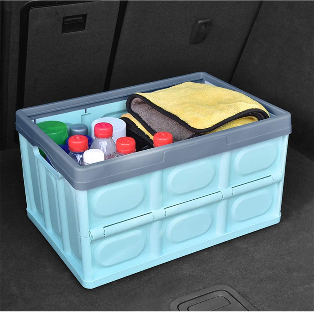 Car Trunk Organizer and Storage Box Collapsible Non-Slip Auto Cargo Storage Container Ideal for Vehicle 433023CM Blue, S SUV Family Vans Travel and Camping