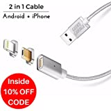 2 in 1 Magnetic Phone Charger with Micro USB and iPhone Adapters Fast Quick Charging & Data Transfer Cable for any Android and Apple Smartphone Devices HTC Moto LG Samsung Iphone7 iPhone6 3.3FT 2.4A