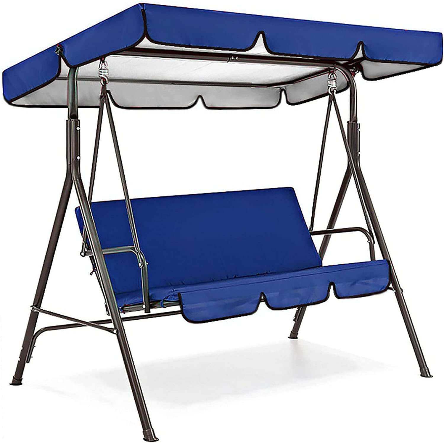 Patio Swing Canopy Waterproof Top Cover Set, Replacement Canopy Cover for Swing Chair Awning Glider 2/3-Seater, Outdoor Garden Furniture Covers All Weather Protection (Blue, Three-Seater)