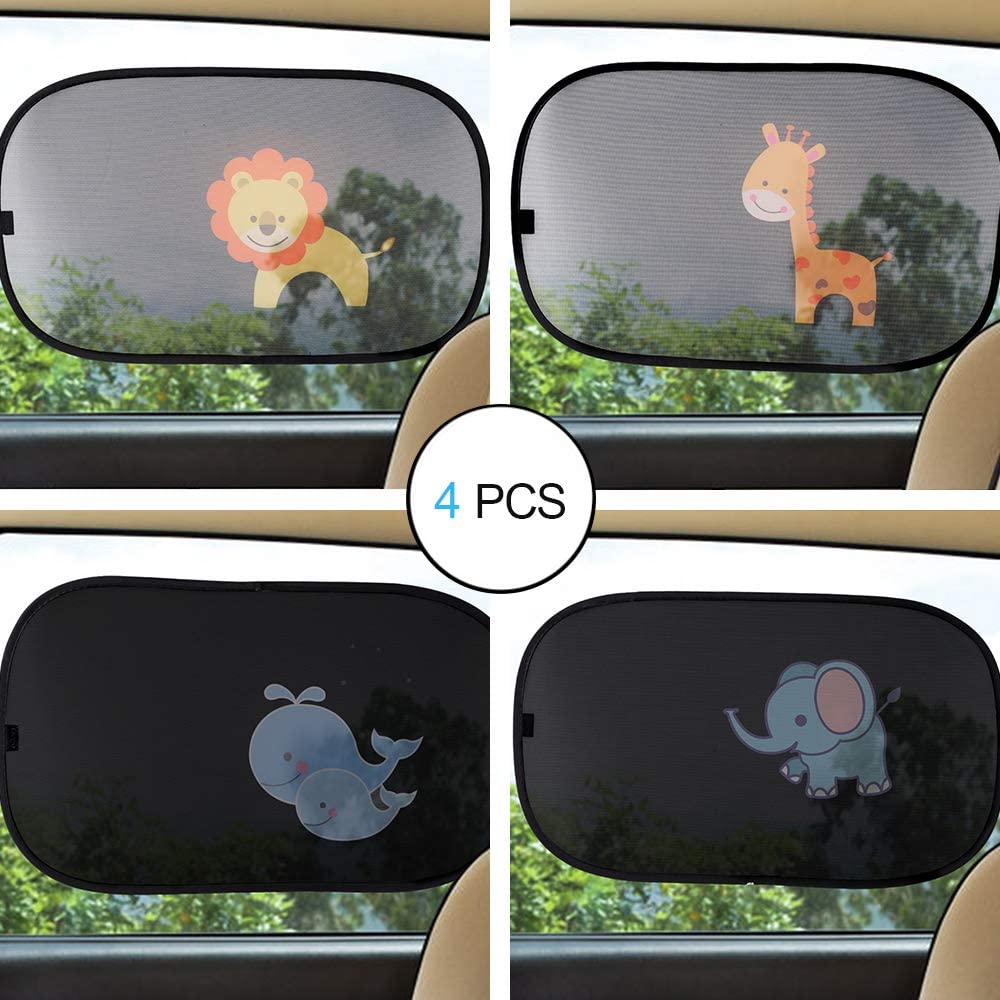 CITIGO Car Window Sun Shade (4 pcs) - Block UV Ray, Lighting, Glare and Heat, Protection for Baby and Kids - Cartoon Lion, Elephant, Giraffe and Whales - Windshield Sun Shades