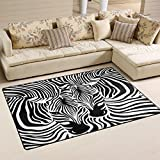 WOZO Abstract Animal Zebra Print Area Rug Rugs Non-Slip Floor Mat Doormats Living Room Bedroom 60 x 39 inches
