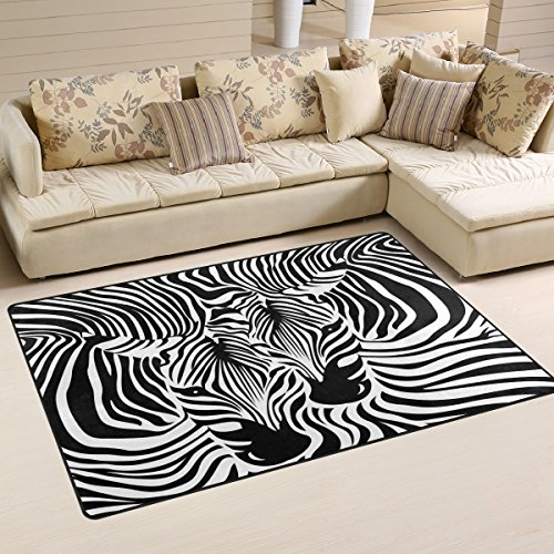 WOZO Abstract Animal Zebra Print Area Rug Rugs Non-Slip Floor Mat Doormats Living Room Bedroom 60 x 39 inches by WOZO