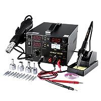 YIHUA Digital Lötstation 853D 765W, 3 in1 smd Lötstation Lötkolben Entlötstation Heißluft,SMD Rework Station Lötset mit 11 Spitzen+ 4 Düsen, elektronisch temperaturgesteuert, LCD-Anzeige