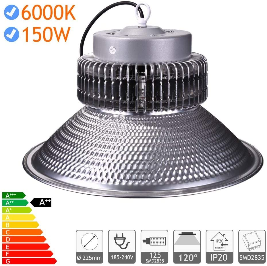 Jandei - Campana LED suspendida 150W 15750 Lúmenes (=450W) luz blanca 6000K Interior IP20 para taller, almacén...