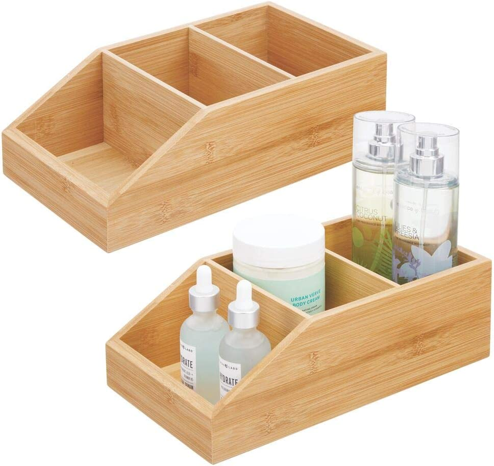 mDesign Juego de 2 cajas organizadoras con 3 compartimentos – Gran cajón de madera de bambú para cosméticos, maquillaje y otros accesorios – Clasificador ecológico para baño, cocina, etc. – natural
