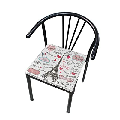 Bardic FICOO Home Patio Chair Cushion France Eiffel Tower Square Cushion Non-Slip Memory Foam Outdoor Seat Cushion, 16x16 Inch: Home & Kitchen
