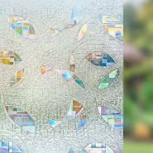 Rabbitgoo 3D No Glue Static Cling Window Film Decorative Privacy Glass Films Non-Adhesive Heat Control Anti UV 23.6in. By 78.7in. (60 x 200Cm)
