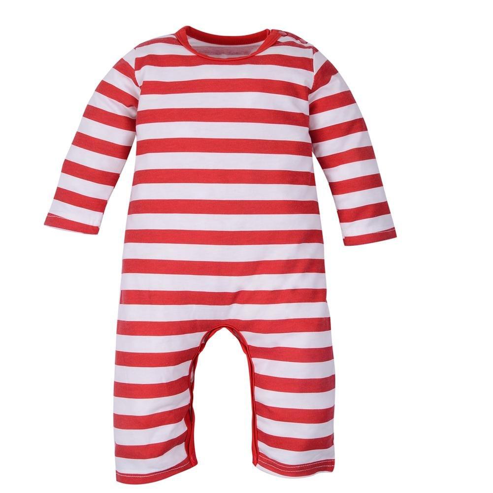 Domybest Tutina Neonato Invernale di Cotone Abbigliamento Infantile Morbido a Righe per Natale