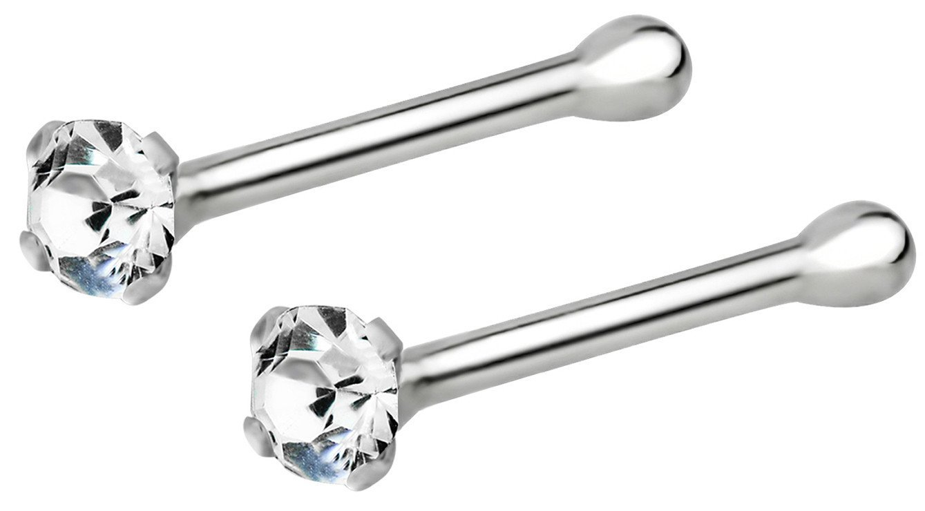 Set of 2: 22g Sterling Silver CZ Simulated Diamond Micro Nose Studs, 1.5mm Crystals