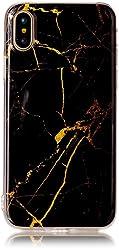 Girlscases® | iPhone XS Hülle, iPhone X / 10 Hülle Marmor Schutzhülle aus Silikon | Marmor/Marble Aufdruck/Motiv Glänzend Case/Hülle | Farbe: Schwarz/Gold