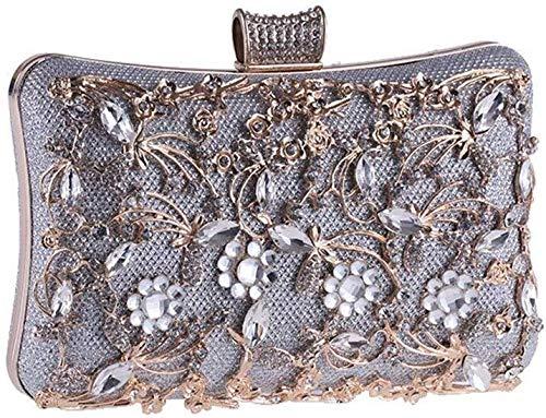 LXDDJsl kvinnor handväska clutches väska för kvinnor damer aftonväska handväska balväska handväska för cocktail party brud axel Tooy (färg: svart) SILVER