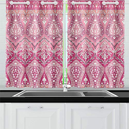 WUTMVING Print Border Ornate Morrocan Indian Summer Paisl Kitchen Curtains Window Curtain Tiers for Café, Bath, Laundry, Living Room Bedroom 26 X 39 Inch 2 Pieces ()