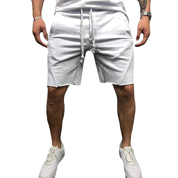 9021ba0412 Dilicwa Pantaloncini Casual da Uomo in Cotone Fitness da Jogging da ...