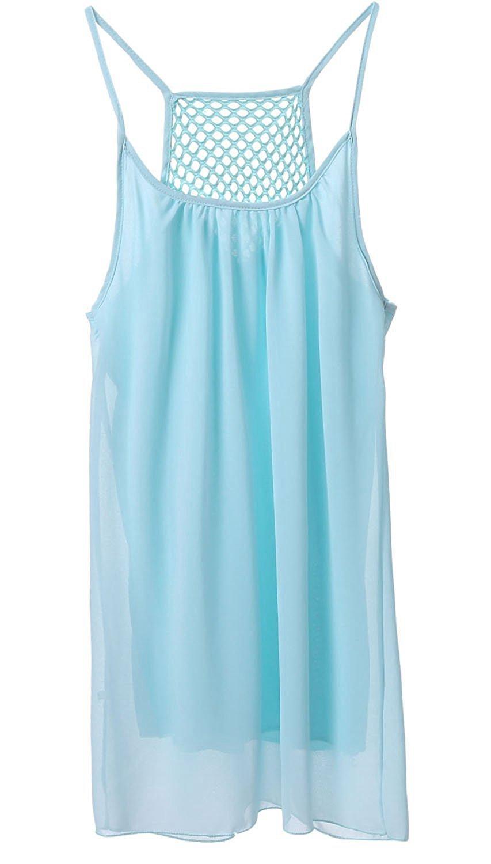 LeaLac Women's Summer Cotton Bathing Suit Cover up Beach Bikini Swimsuit Swimwear Crochet Dress Gift for Women Q24843 Light Blue