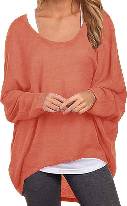 ZANZEA Sexy Women Loose Solid Irregular Long Sleeve Baggy Jumper Casual Tops Blouse T-Shirt